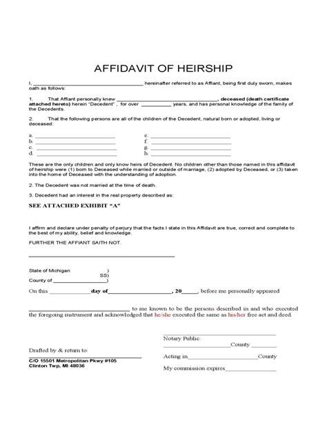 Affidavit Of Heirship 15 Free Templates In Pdf Word Excel Download Affidavit Of Heirship Template