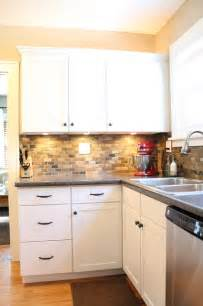 Small Tile Backsplash In Kitchen by Small Kitchen Remodel Featuring Slate Tile Backsplash