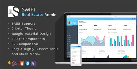 Swift Real Estate Bootstrap Material Dashboard Template By Thememakker Real Estate Dashboard Templates