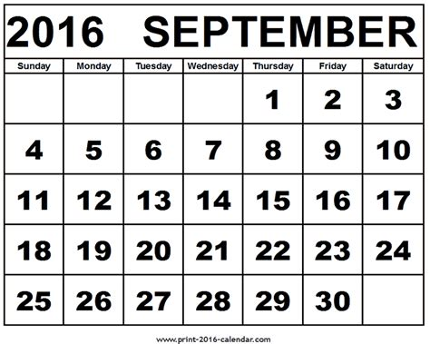 2016 Photo Calendar September 2016 Calendar Template Printable And Template