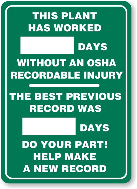 Osha Records A Day Safety Scoreboard Plant Days No Osha Injury Signs Sku S 5012