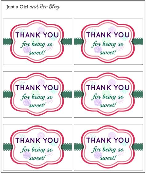A Sweet And Simple Thank You Gift With Free Printable Just A Girl And Her Blog Thank You For Coming Tags Template
