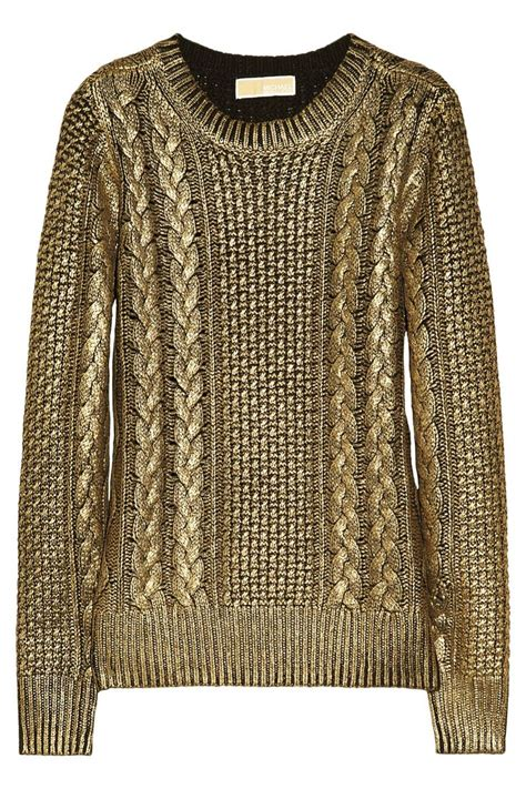 gold knit sweater metallic coated cable knit sweater