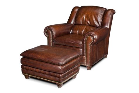 Luxury Upholstered Furniture Leather Chair And Ottoman Chair And Ottoman