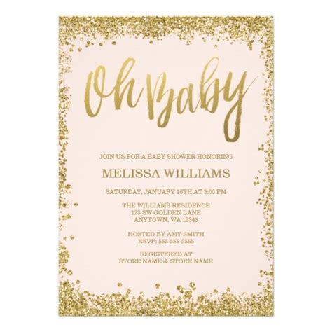 Oh Baby Blush Pink Gold Glitter Baby Shower 5x7 Paper Invitation Card Zazzle Free Glitter Invitation Template