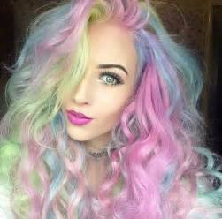 colored hair rainbow hair in pastel colors