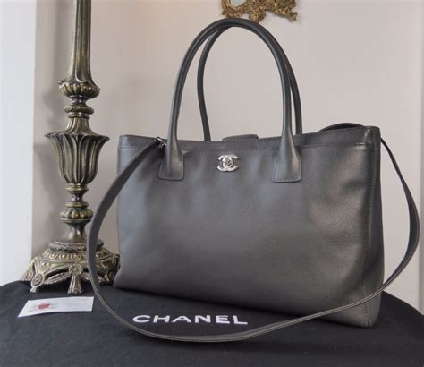 New 2016 Chanel Bag Charcoal Grey Silverish chanel cerf executive tote in charcoal grey calfskin with silver hardware sold