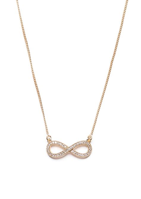 delicate infinity pendant necklace in gold happiness