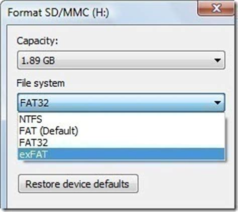 format exfat android exfat