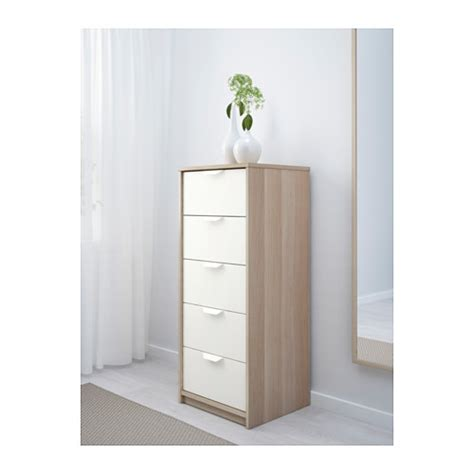 ikea askvoll askvoll chest of 5 drawers white stained oak effect white 45x109 cm ikea