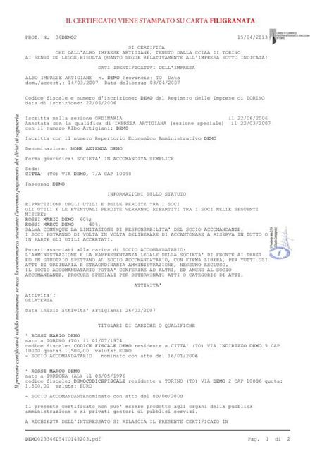 registro delle imprese di commercio certificato iscrizione albo artigiani imprese