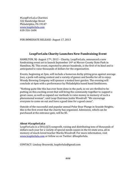 event press release template nonprofit writing sles lindsay brzowski