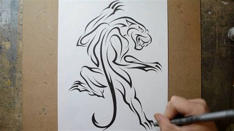 designing a classic climbing panther tattoo design in