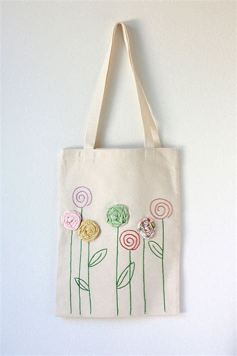Embroidered Tote Bag embroidered cotton canvas tote bag with fabric flower appliqu 233