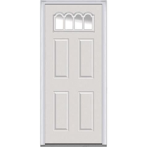 30 Inch Exterior Door With Window Mmi Door 30 In X 80 In Clear Left 1 4 Lite 4 Panel Classic Primed Fiberglass