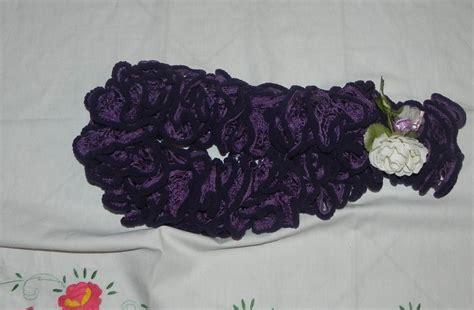 sciarpa volant sciarpa donna handmade con volants viola effetto vellutato