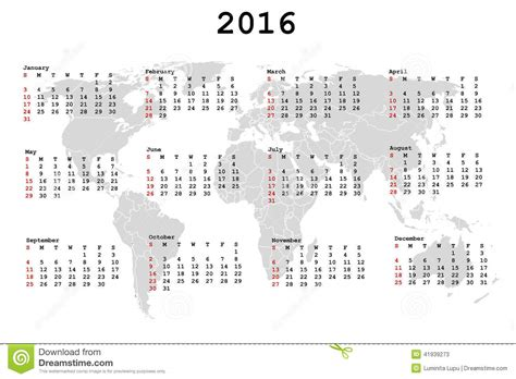 2016 calendar for agenda with world map stock vector