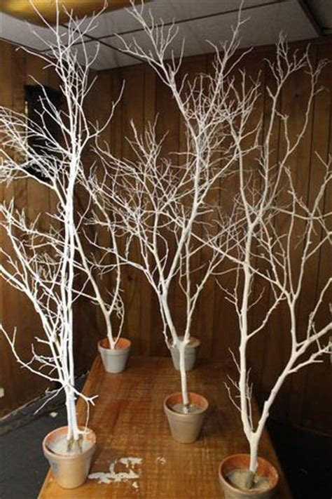 tree in lighted pot spray paint branches white silver and put in pots outside venue with lights and snowflakes