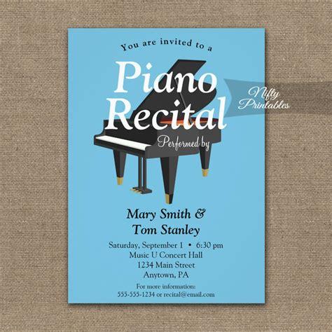 printable recital invitations piano recital invitation blue grand printed nifty printables