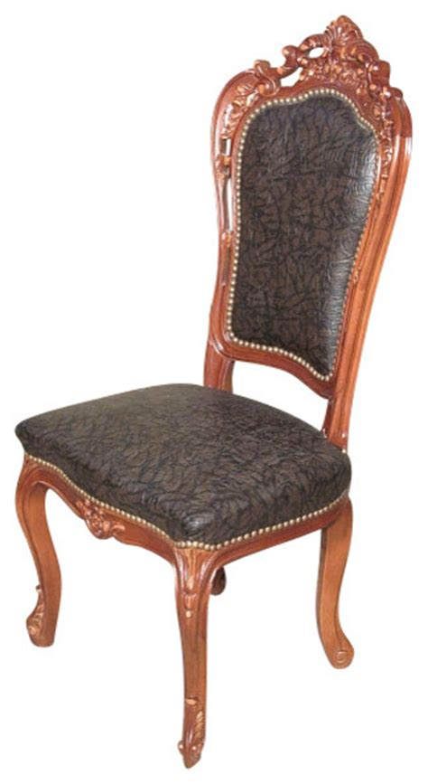 mahogany carved upholstered high back faux leather