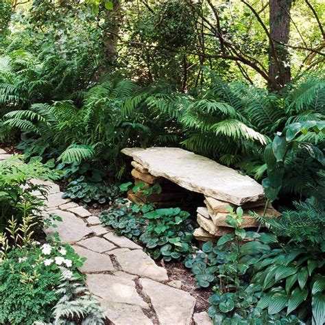 stacked stone bench features that create an outstanding garden gardens