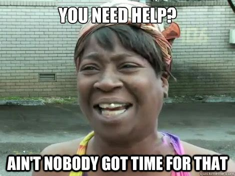 The Help Meme - you need help ain t nobody got time for that sweet