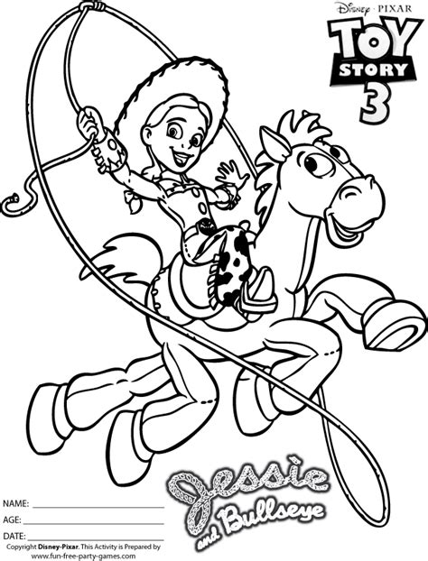 toy story coloring pages games jessie name colouring pages