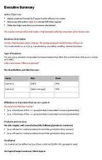 Executive Summary Business Plan Template Business Plan Executive Summary Tko Policy Procedure