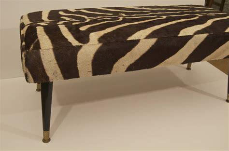 zebra hide bench vintage zebra hide bench with black ebonized legs at 1stdibs
