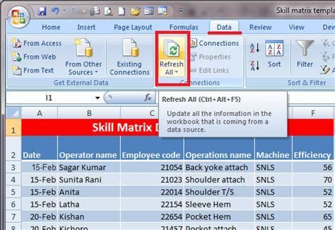 how to develop skill matrix with excel template clothing study