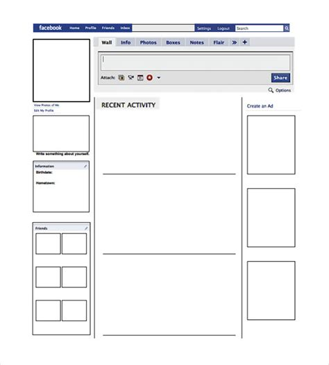 blank facebook template 11 free word ppt amp psd