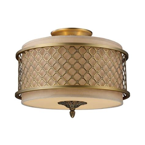 Titan Lighting Chester 3 Light Brushed Antique Brass Antique Brass Flush Mount Ceiling Light