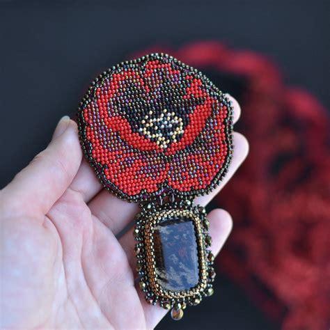 beadwork brooch poppy beadwork brooch bead embroidery brooch chic