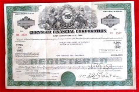 Chrysler Financial Corporation by Stocks Bonds Scripophily World Americas Price And