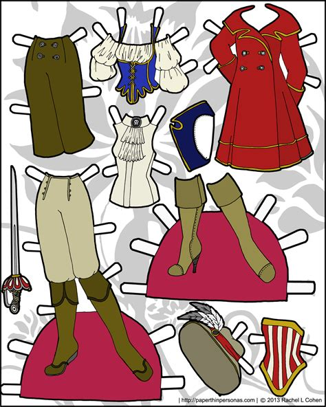 printable paper dolls and clothes pirate costumes for the ms mannequin paper dolls paper
