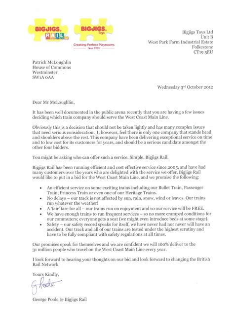 Response Letter For Offer Bigjigs Toys Submits Bid To Run West Coast Line Services Metro News