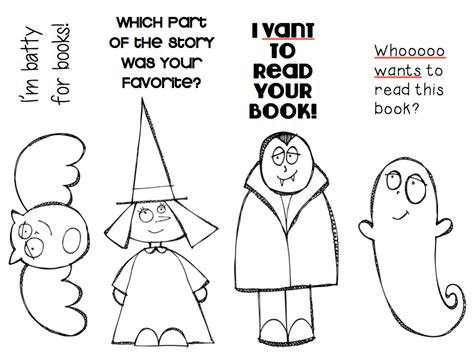 printable halloween bookmarks black white ms o reads books october bookmarks