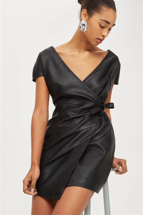 Mini Leather Dress faux leather wrap mini dress dresses clothing