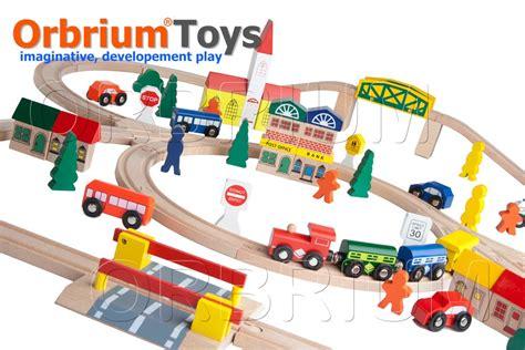 chuggington brio 100 piece orbrium toys triple loop wooden train set fits