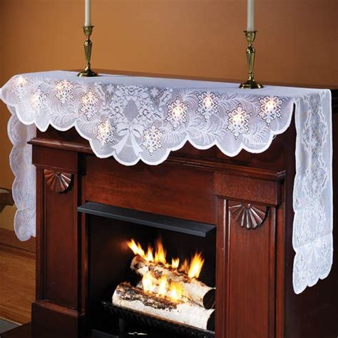 Fireplace Scarf by Lighted Mantel Scarf Lace Mantel Scarf Kimball