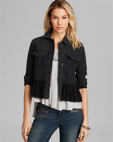 Denim Mix Lace Shirt 2 free jacket denim and lace mix bloomingdale s