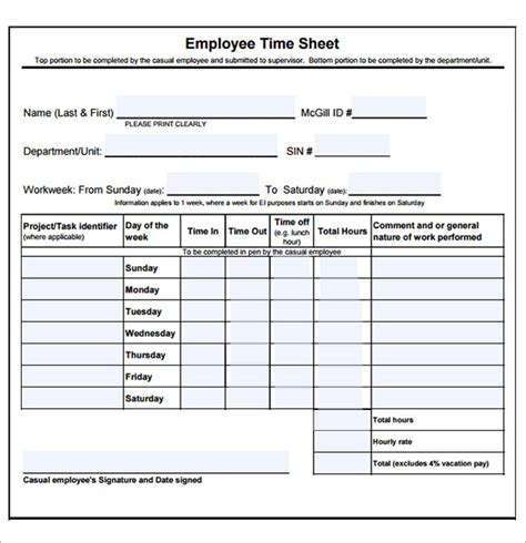 employee timesheet template 8 free download for pdf