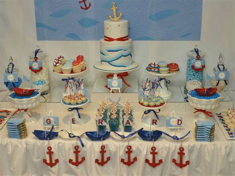 themes baptism party ocean swirl nautical dessert table baptism party ideas