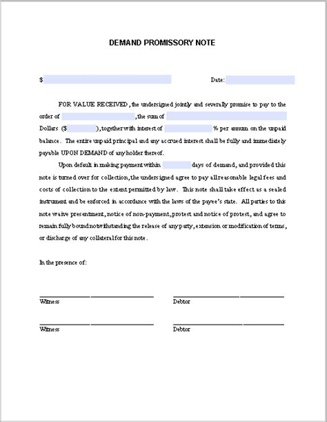 demand promissory note demand promissory note template free fillable pdf forms