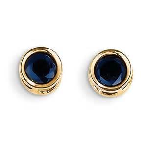 14k yellow gold 5mm bezel sapphire stud earrings