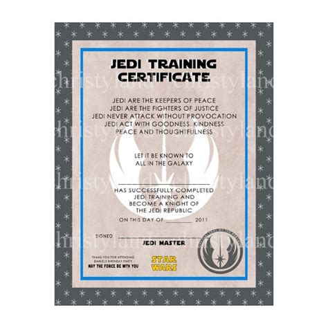 wars jedi certificate template free 29 best certificate templates images on