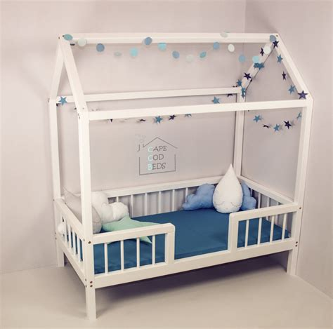 Montessori Bed Frame Crib Size House Shaped Bed On Legs With Rails House Bed