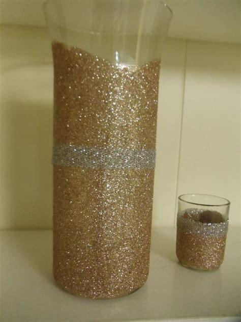 chagne color glitter vase wedding centerpiece