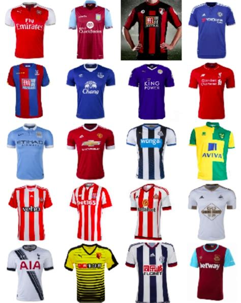 stripe premier league table 2017 2015 16 premier league shirts for all 20 teams photos
