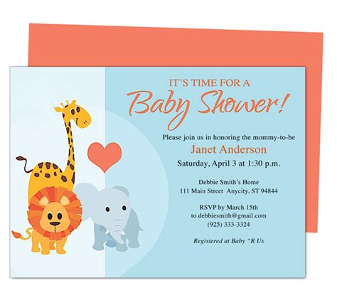 baby shower templates for mac animals cute printable diy baby shower invite templates